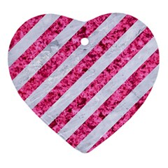 Stripes3 White Marble & Pink Marble (r) Heart Ornament (two Sides) by trendistuff