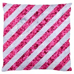 Stripes3 White Marble & Pink Marble (r) Large Cushion Case (two Sides) by trendistuff