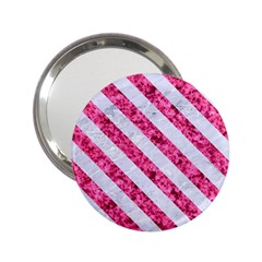 Stripes3 White Marble & Pink Marble 2 25  Handbag Mirrors by trendistuff
