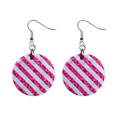 Stripes3 White Marble & Pink Marble Mini Button Earrings by trendistuff