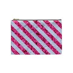Stripes3 White Marble & Pink Marble Cosmetic Bag (medium)  by trendistuff
