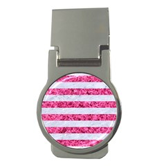 Stripes2white Marble & Pink Marble Money Clips (round)  by trendistuff