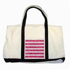 Stripes2white Marble & Pink Marble Two Tone Tote Bag by trendistuff