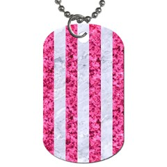 Stripes1 White Marble & Pink Marble Dog Tag (two Sides) by trendistuff
