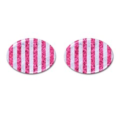 Stripes1 White Marble & Pink Marble Cufflinks (oval) by trendistuff
