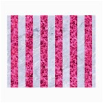 STRIPES1 WHITE MARBLE & PINK MARBLE Small Glasses Cloth (2-Side) Front