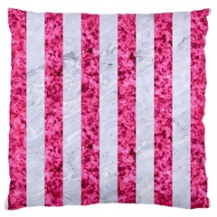 Stripes1 White Marble & Pink Marble Large Cushion Case (two Sides) by trendistuff