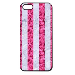 Stripes1 White Marble & Pink Marble Apple Iphone 5 Seamless Case (black) by trendistuff