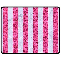 Stripes1 White Marble & Pink Marble Double Sided Fleece Blanket (medium)  by trendistuff