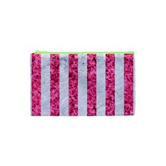 Stripes1 White Marble & Pink Marble Cosmetic Bag (xs)