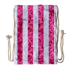 Stripes1 White Marble & Pink Marble Drawstring Bag (large) by trendistuff