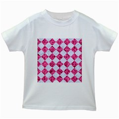 Square2 White Marble & Pink Marble Kids White T Shirts by trendistuff