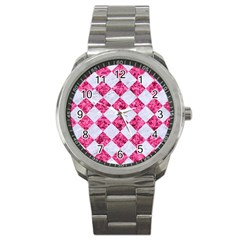 Square2 White Marble & Pink Marble Sport Metal Watch by trendistuff