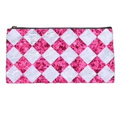 Square2 White Marble & Pink Marble Pencil Cases by trendistuff