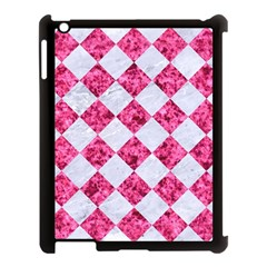 Square2 White Marble & Pink Marble Apple Ipad 3/4 Case (black) by trendistuff