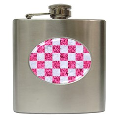 Square1 White Marble & Pink Marble Hip Flask (6 Oz) by trendistuff