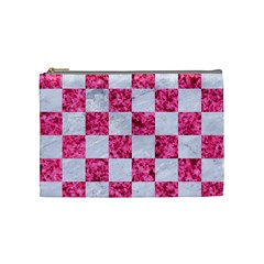 Square1 White Marble & Pink Marble Cosmetic Bag (medium)  by trendistuff