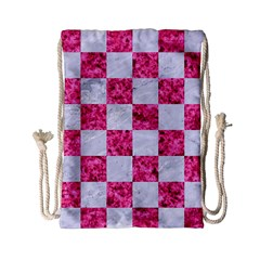 Square1 White Marble & Pink Marble Drawstring Bag (small)