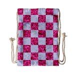 SQUARE1 WHITE MARBLE & PINK MARBLE Drawstring Bag (Small) Front
