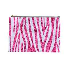 Skin4 White Marble & Pink Marble (r) Cosmetic Bag (large)  by trendistuff
