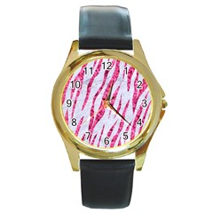 Skin3 White Marble & Pink Marble (r) Round Gold Metal Watch