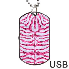 Skin2 White Marble & Pink Marble (r) Dog Tag Usb Flash (two Sides) by trendistuff