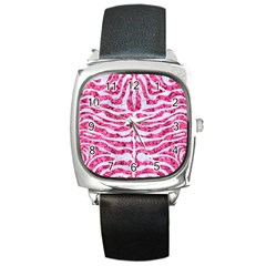 Skin2 White Marble & Pink Marble Square Metal Watch by trendistuff