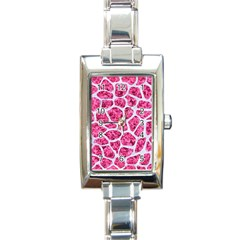 Skin1 White Marble & Pink Marble (r) Rectangle Italian Charm Watch by trendistuff
