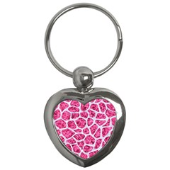 Skin1 White Marble & Pink Marble (r) Key Chains (heart)  by trendistuff