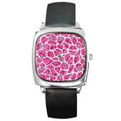 Skin1 White Marble & Pink Marble (r) Square Metal Watch by trendistuff