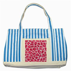 Skin1 White Marble & Pink Marble (r) Striped Blue Tote Bag by trendistuff
