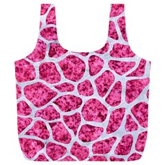 Skin1 White Marble & Pink Marble (r) Full Print Recycle Bags (l)  by trendistuff