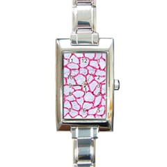 Skin1 White Marble & Pink Marble Rectangle Italian Charm Watch by trendistuff