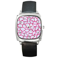 Skin1 White Marble & Pink Marble Square Metal Watch by trendistuff
