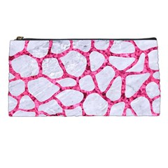 Skin1 White Marble & Pink Marble Pencil Cases by trendistuff
