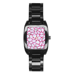 Skin1 White Marble & Pink Marble Stainless Steel Barrel Watch by trendistuff