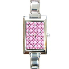 Scales3 White Marble & Pink Marble (r) Rectangle Italian Charm Watch by trendistuff