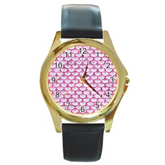 Scales3 White Marble & Pink Marble (r) Round Gold Metal Watch by trendistuff
