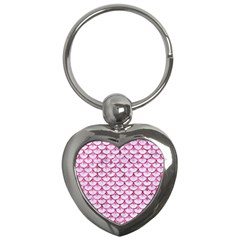 Scales3 White Marble & Pink Marble (r) Key Chains (heart)  by trendistuff