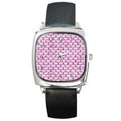 Scales3 White Marble & Pink Marble (r) Square Metal Watch by trendistuff