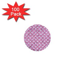 Scales2 White Marble & Pink Marble (r) 1  Mini Buttons (100 Pack)  by trendistuff