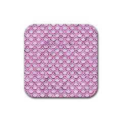 Scales2 White Marble & Pink Marble (r) Rubber Coaster (square)  by trendistuff