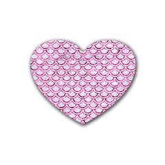 Scales2 White Marble & Pink Marble (r) Heart Coaster (4 Pack)  by trendistuff
