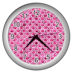 Scales2 White Marble & Pink Marble Wall Clocks (silver)  by trendistuff