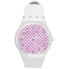 Scales1 White Marble & Pink Marble (r) Round Plastic Sport Watch (m) by trendistuff