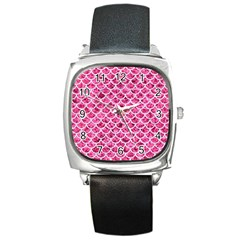 Scales1 White Marble & Pink Marble Square Metal Watch
