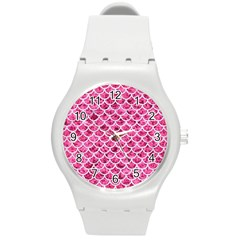 Scales1 White Marble & Pink Marble Round Plastic Sport Watch (m) by trendistuff