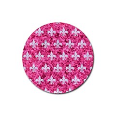 Royal1 White Marble & Pink Marble (r) Rubber Round Coaster (4 Pack)  by trendistuff
