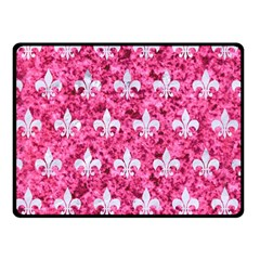 Royal1 White Marble & Pink Marble (r) Double Sided Fleece Blanket (small)  by trendistuff