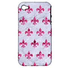 Royal1 White Marble & Pink Marble Apple Iphone 4/4s Hardshell Case (pc+silicone) by trendistuff